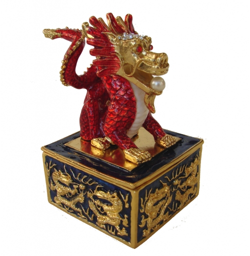 Bejeweled Cloisonne Dragon On Seal Statue