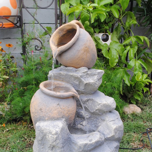 Polyresin and fiberglass tiered pot fountain for Cascadas y fuentes de agua para jardin