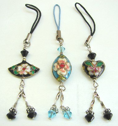 cell phone charms black fan blue oval and shape