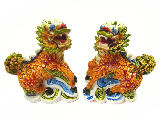 two separate chi lin statues as feng shui cures. Black Bedroom Furniture Sets. Home Design Ideas