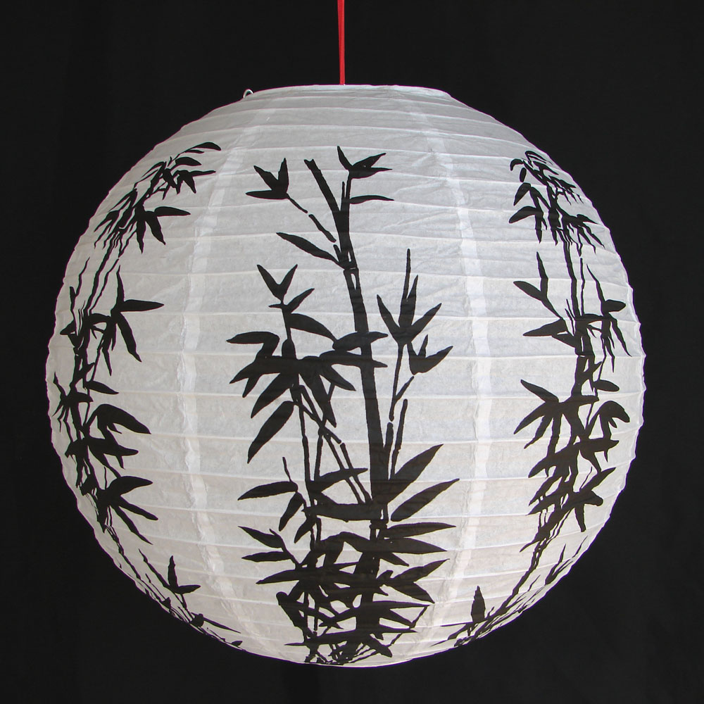 Chinese White Paper Lanterns With Bamboo Pictures