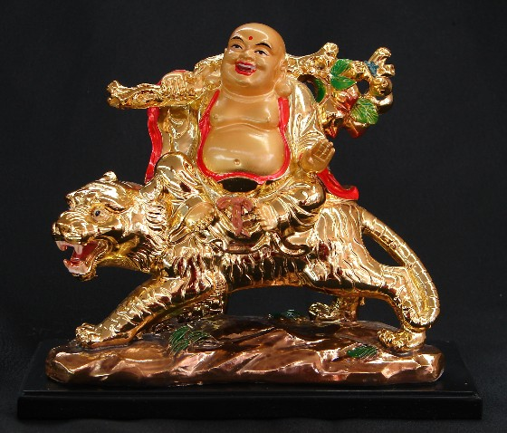 Laughing Buddha On Tiger Wealth God On Tiger