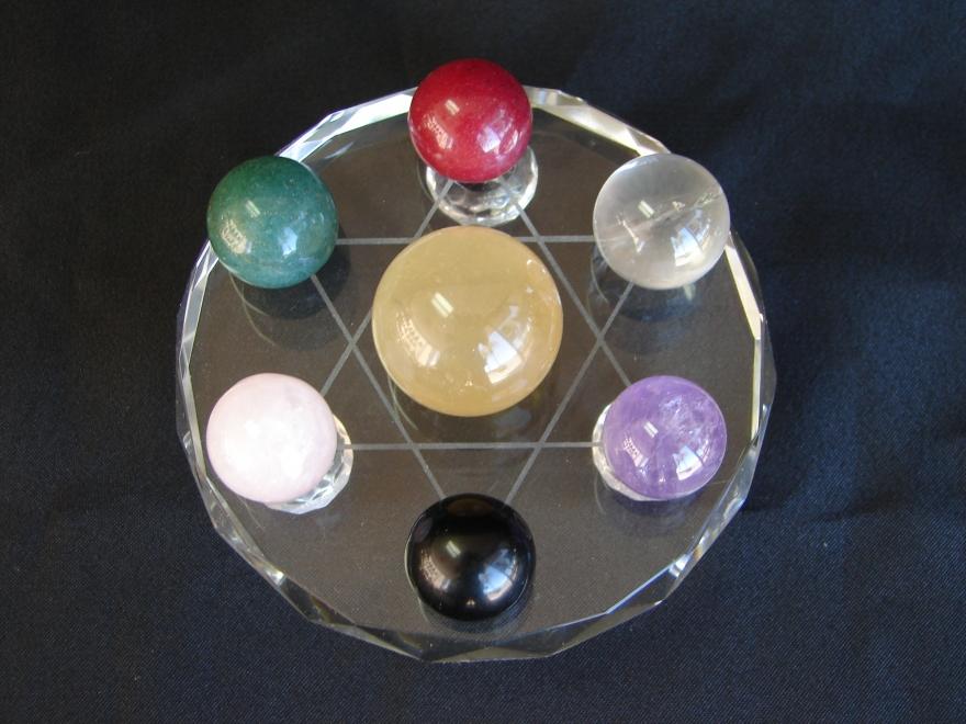 7 Gemstone Balls On Star Of David Crystal Base