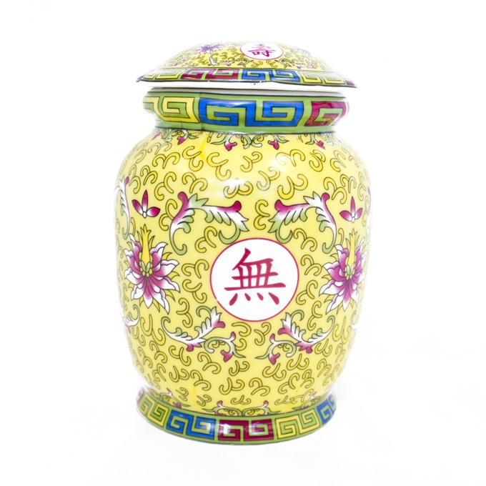 Yellow Wealthy Vase With Lid