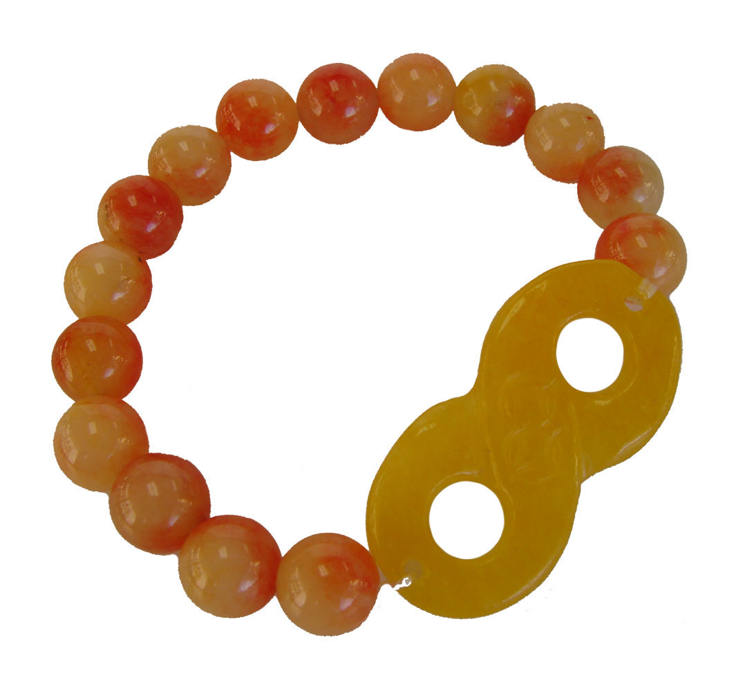 Color jade beaded bracelet with infinity symbol biocorpaavc