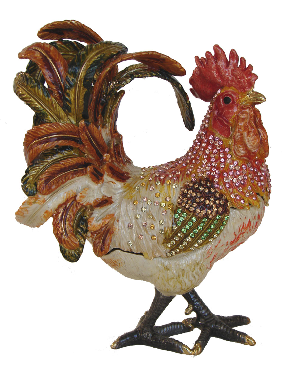 Feng Shui Big Colorful Bejeweled Rooster Statue Big Metal