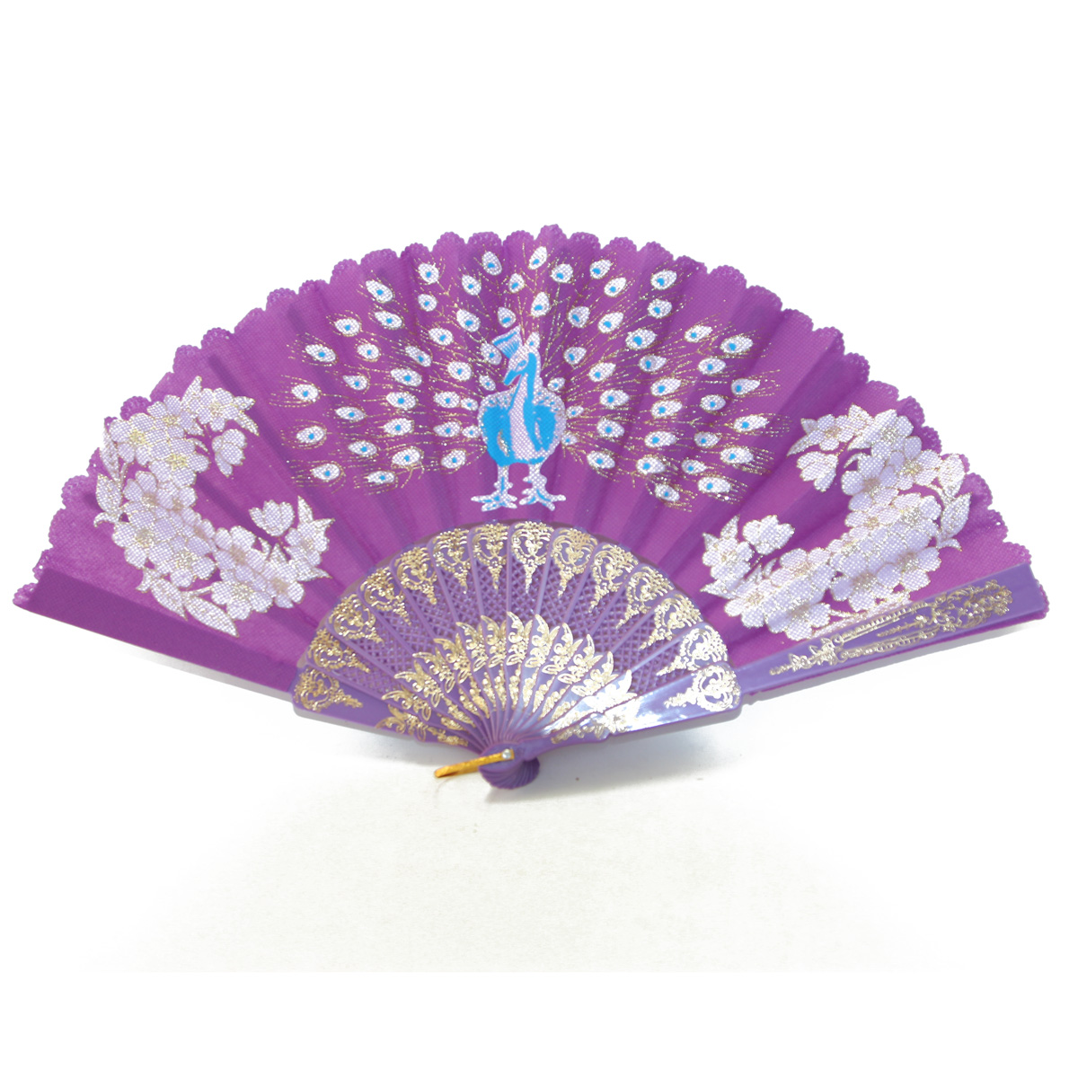 Hand Fan With Peacock Picture In Different Colors For