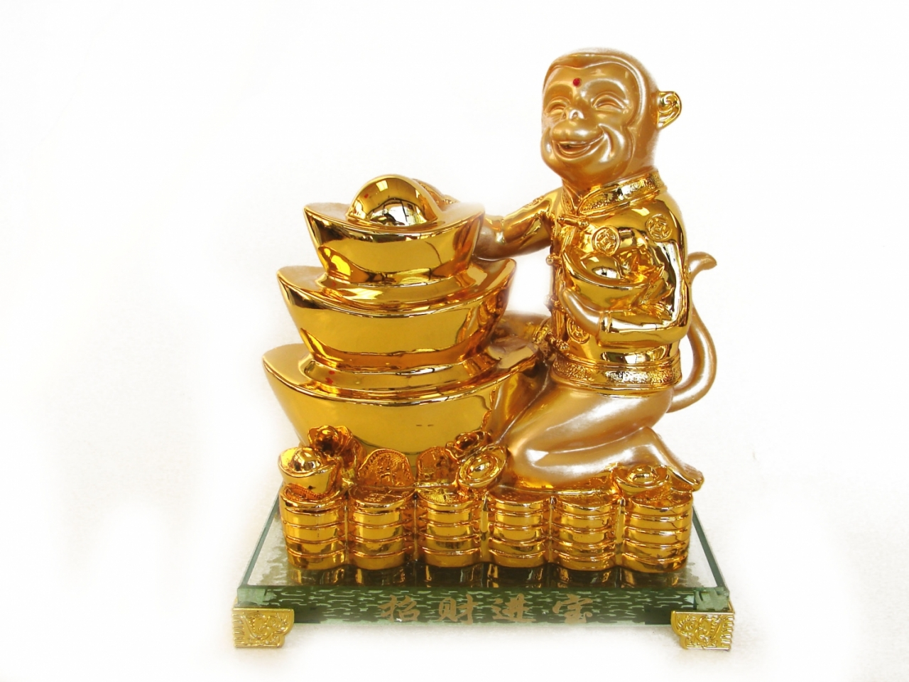Golden Monkey Statue With Feng Shui Ingot For Year Of The