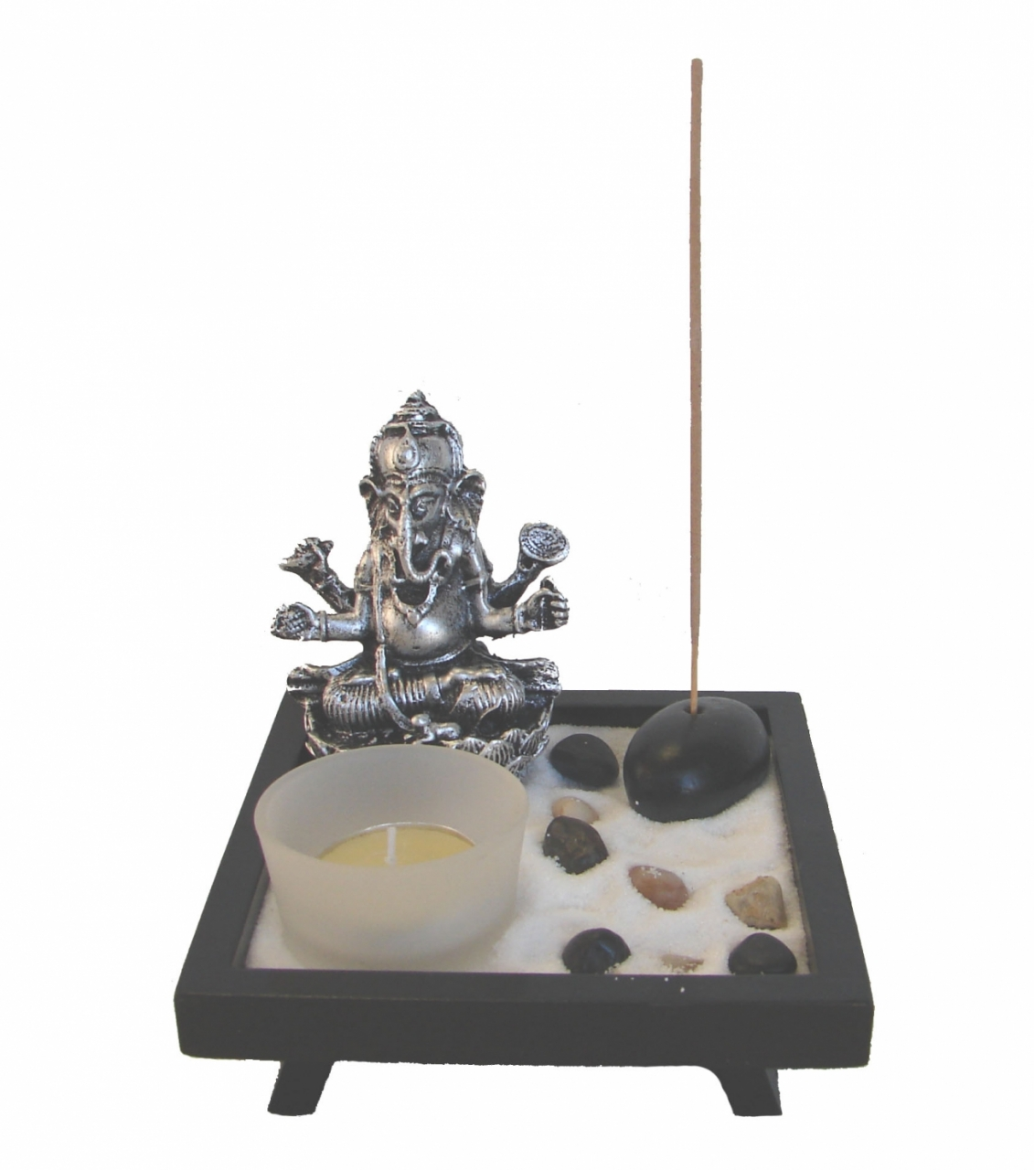 small desktop zen garden with ganesh statue. Black Bedroom Furniture Sets. Home Design Ideas