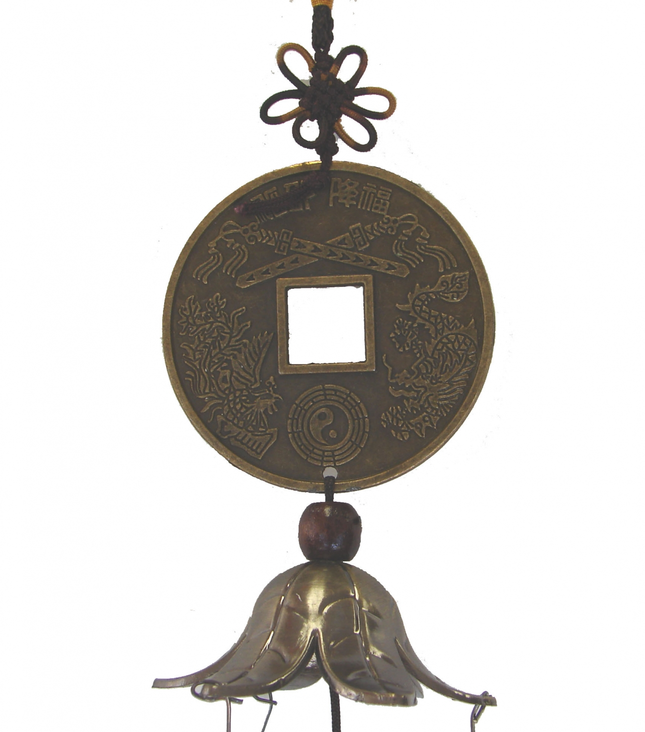 2 Layer Bell Charm With Chinese Coin