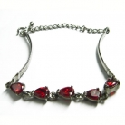 Sterling Bracelet w/ Red Heart Crystals