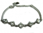 Sterling Bracelet w/ Round Clear Crystals