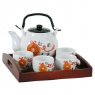 Chinese Tea Sets with Wood Tray