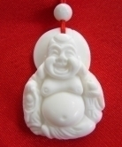 White Jade Gemstone Laughing Buddha Necklace