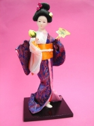 Japanese Geisha Doll with Orchid Flowers