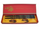 Set of Black Wooden Chopsticks with Dragon Pictures