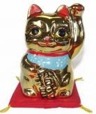 Golden Lucky Cat Statue with Left Hand Up