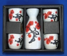 Ceramic White Japanese Saki Set with Red Plum Pictures