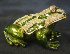 Bejeweled Metal Money Frog