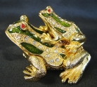Bejeweled Metal Money Frog Carrying Money Frog