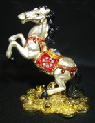 Metal White Horse Stepping on Bed of Coins
