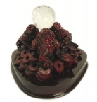 Red Triple Feng Shui Toads Holding Crystal