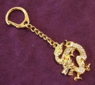 Bejeweled Golden Dragon Amulet KeyChain