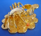Golden Crab Sitting on Coins