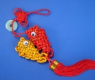 Lucky Charm with Double Fishes and Red Tassel