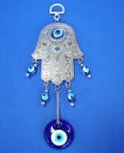 Silver Hamsa with Blue Evil Eyes