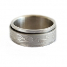 Silver Spinner Ring with Dragon Phoenix Image