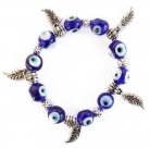 Evil Eye Bracelet with Leaves