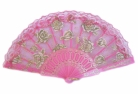 Colorful Slab Lace Folding Fan with Rose Pictures
