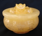 Yellow Jade Wealthy Pot with Ingots