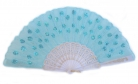 Peacock Pattern Sequin Fabric Hand Fan in Different Colors
