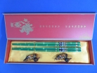Green Wooden Chopsticks Set with Panda Pictures