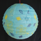2 of Blue Paper Lanterns with Flower Pictures
