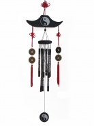 8-Rod Black Wind Chime with Tower-Shape Wooden Top and Coins