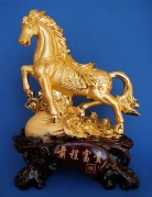 Big Golden Horse Statue Stepping on Money Bag