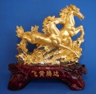 Double Golden Horse Statue for Booming Luck