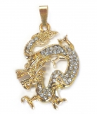 Bejeweled Golden Dragon Pendant