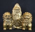 Brass Fu Dogs Sitting Beside Mountain