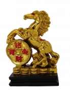 Golden Horse Statue Stepping on Money Coin