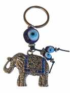 Elephant with Blue Evil Eye Protection Keychain