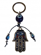Hamsa Hand with Blue Evil Eyes Protection Keychain
