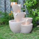 Muiti Pots Sandstone Outdoor-indoor Water Fountain With Led Lights