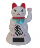 Solar Energy White Lucky Cat Statue