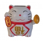 Solar Energy White Money Cat Statue