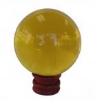 Yellow Crystal Ball with wooden stand