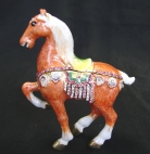 Bejeweled Orange Horse Statue